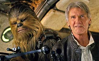 Chewie and Hans back on the Millennium Falcon in Star Wars: Episode VII: The Force Awakens