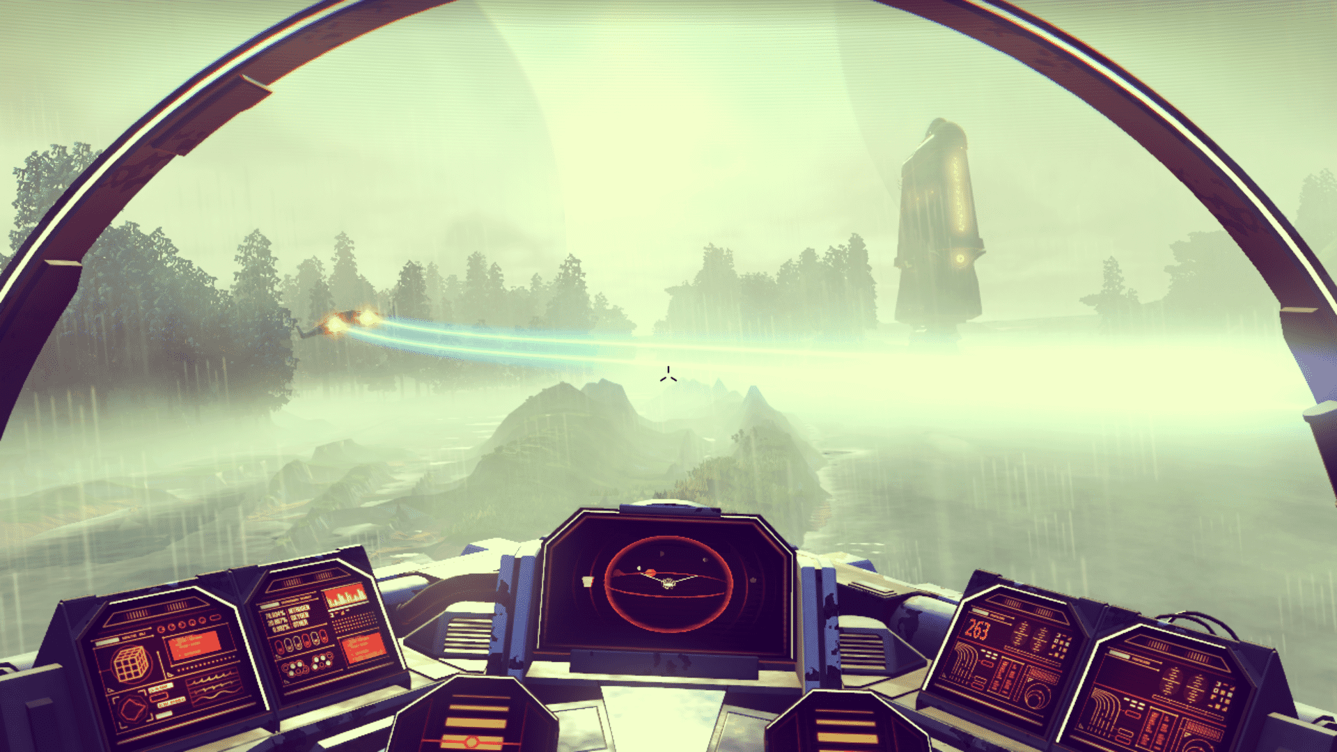 In a spacecraft cockpit