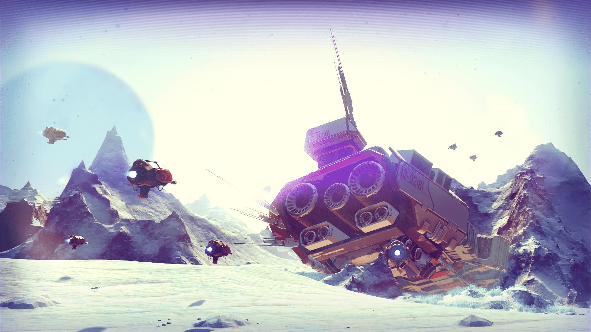 Crashed spaceship wreckage