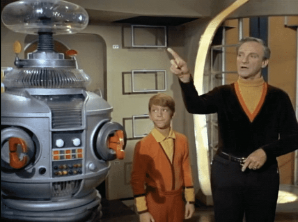 The Robot, Doctor Smith, and Will Robinson from Lost in space
